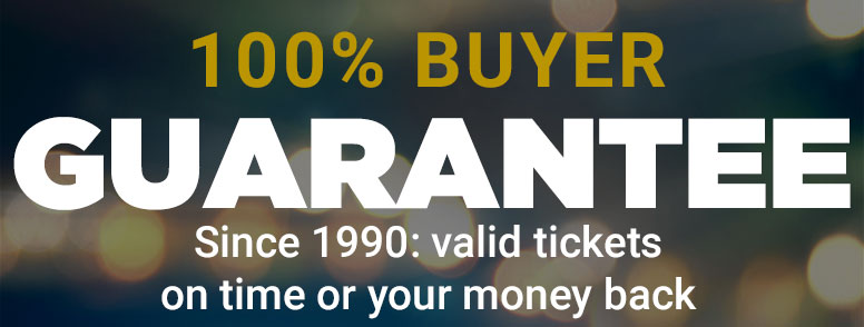 TicketCity 100% Buyer Guarantee: since 1990, valid tickets on time or your money back