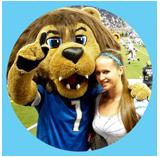 lions mascot with loyal fan