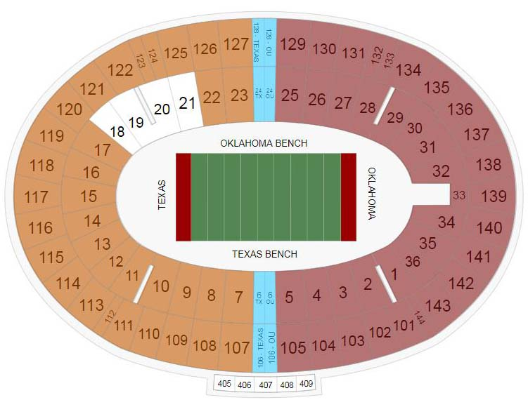 Cotton Bowl Seating Chart for Texas vs OU